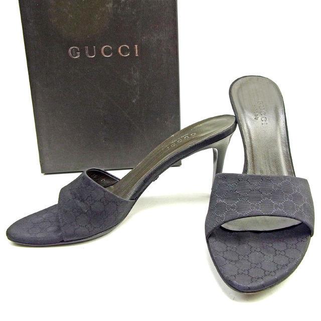 【中古】 グッチ Gucci ミュール #36C レディース ブラック キャンバス×レザー T13651 .