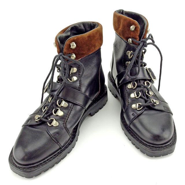 【中古】 グッチ GUCCI ブーツ シューズ 靴 レディース ♯34ハーフC ショート トレッキング ブラック×ブラウン×シルバー レザー×スエード 良品 Y6396 .