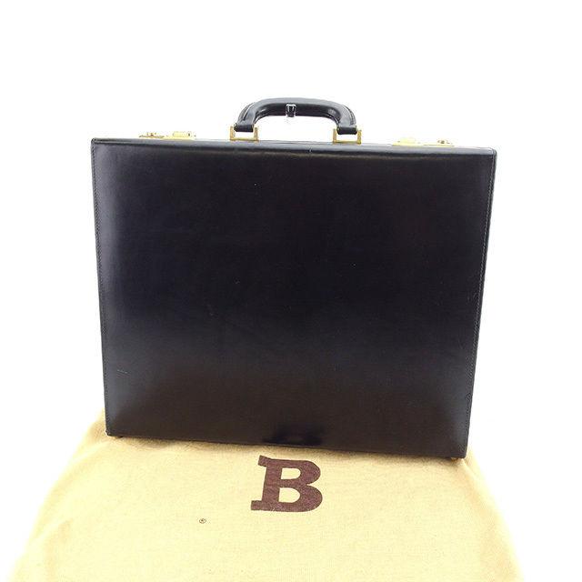 【中古】 バリー BALLY アタッシュケース ビジネスバッグ メンズ ロゴ ブラック×ゴールド レザー ヴィンテージ 人気 Y6435 .
