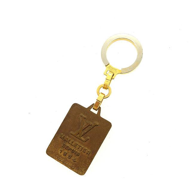 【中古】 ルイ ヴィトン LOUIS VUITTON キーホルダー キーリング メンズ可 MALLETIER DEPUIS 1854 ロゴプレート ゴールド×シルバー ゴールド&シルバー金具 奇跡的入荷 ヴィンテージ Y6436 .