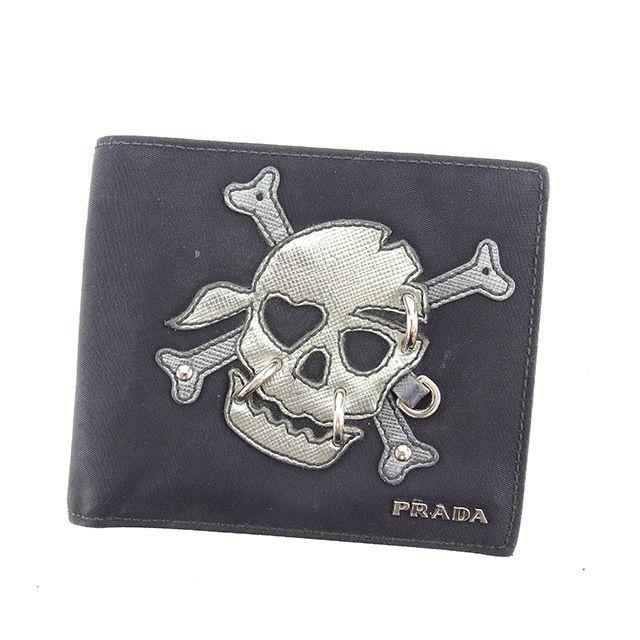 【中古】 プラダ PRADA 二つ折り財布 メンズ スカルモチーフ ブラック×シルバー ナイロンキャンバス×レザー 人気 Y6445