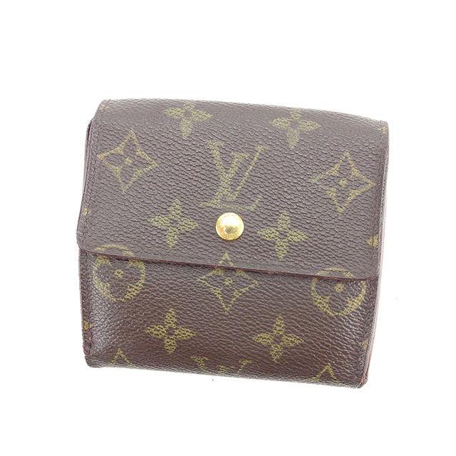【中古】 ルイ ヴィトン Louis Vuitton Wホック財布 三つ折り財布 メンズ可 ポルトモネビエカルトクレディ モノグラム ブラウン モノグラムキャンバス 人気 Y6480 .