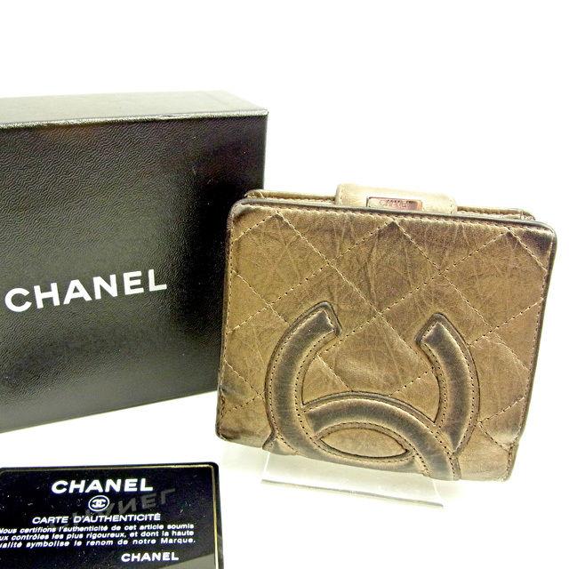 【中古】 シャネル CHANEL がま口財布 二つ折り財布 レディース メンズ 可 カンボンライン ゴールド レザー 人気 Y6712 .