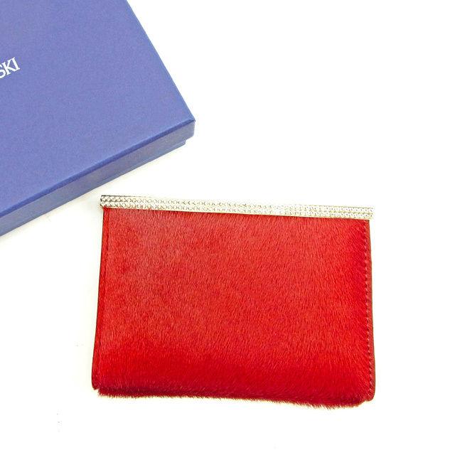 【中古】 未使用品 セール スワロフスキー カードケース ハラコ メンズ可【中古】 T13917