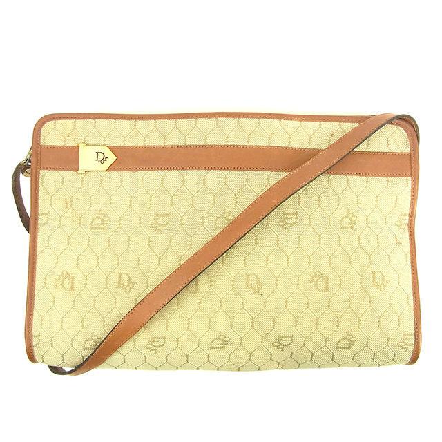 【中古】 ディオール Dior ショルダーバッグ 斜めがけショルダー メンズ可 ヴィンテージ ロゴ柄 ベージュ×ブラウン×ゴールド キャンバス×レザー ヴィンテージ 人気 Y6840