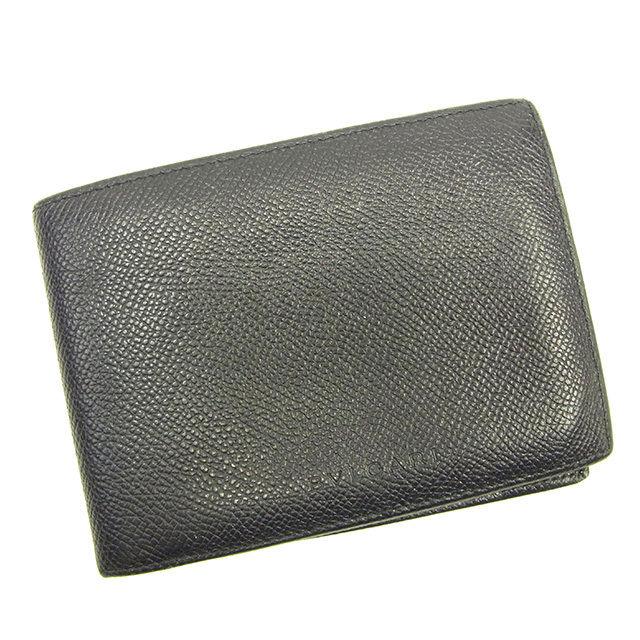 【中古】 ブルガリ BVLGARI 二つ折り札入れ メンズ ロゴ ブラック レザー 人気 Y6869 .