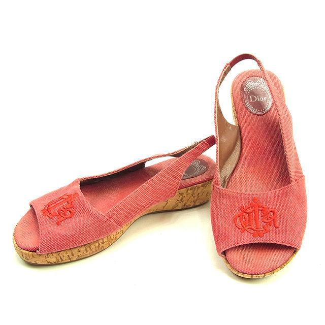 【中古】 ディオール Dior サンダル シューズ 靴 レディース ♯36 スリングバック レッド×ベージュ キャンバス×コルク T15240