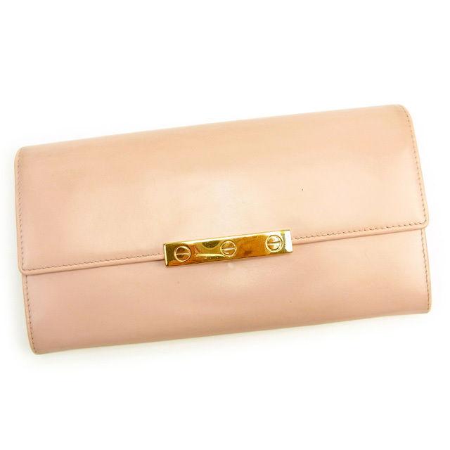 【中古】 カルティエ Cartier 長財布 ファスナー付き長財布 レディース ラブシリーズ ピンク 人気 良品 Y6940 .