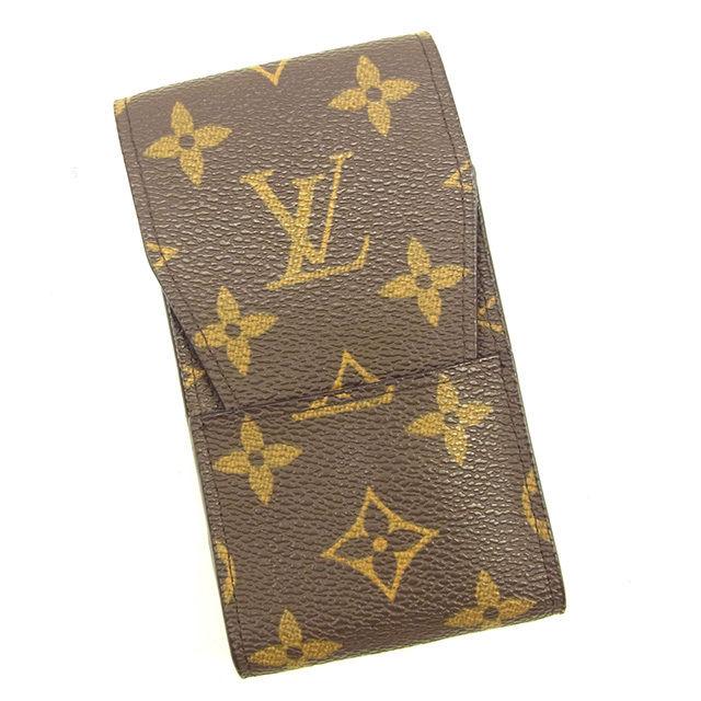 【中古】 ルイ ヴィトン Louis Vuitton シガレットケース タバコケース メンズ可 エテュイシガレット モノグラム ブラウン モノグラムキャンバス 美品 Y7004 .