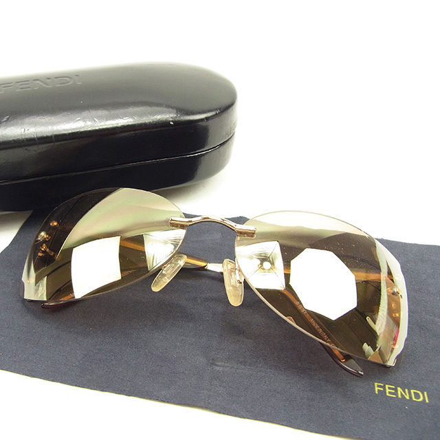 fde95394a838 Fendi FENDI sunglasses glasses men s possible mirror lens F motif clear  brown X gold system plastic X gold metal fittings quality goods sale Y7018