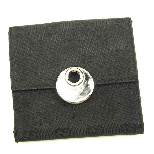 【中古】 グッチ GUCCI Wホック財布 二つ折り財布 メンズ可 GGキャンバス ブラック×シルバー キャンバス×レザー 人気 Y7046 .