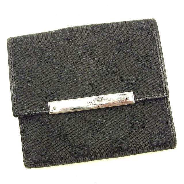 【中古】 グッチ GUCCI Wホック財布 二つ折り財布 メンズ可 GGキャンバス ブラック×シルバー キャンバス×レザー 訳あり Y7047 .
