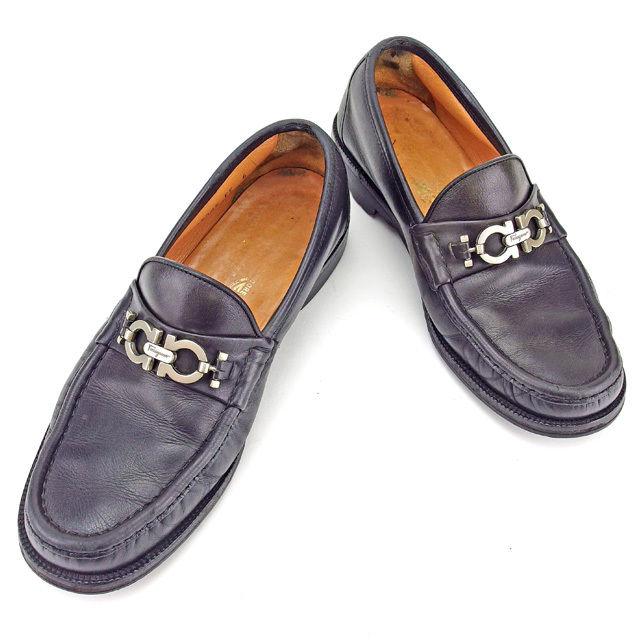 【中古】 サルヴァトーレ フェラガモ Salvatore Ferragamo ローファー シューズ 靴 メンズ ♯6EE ガンチーニ金具 ブラック×シルバー レザー 人気 Y7065 .