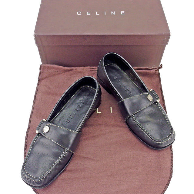 【中古】 セリーヌ CELINE ローファー シューズ 靴 レディース ♯36ハーフC スクエアトゥ ブラック×シルバー レザー T10861