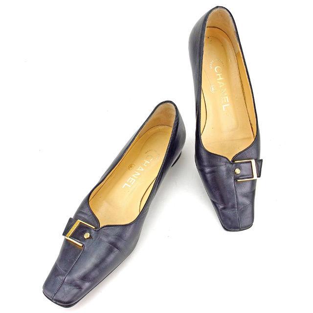 【中古】 シャネル CHANEL パンプス シューズ 靴 レディース ♯35ハーフC スクエアトゥ ベルトバックル ブラック×ゴールド レザー 人気 Y7082 .