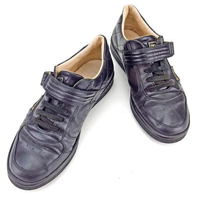 【中古】 シャネル CHANEL スニーカー シューズ 靴 レディース ♯37 ローカット マトラッセ ブラック×ベージュ レザー 人気 Y7083 .