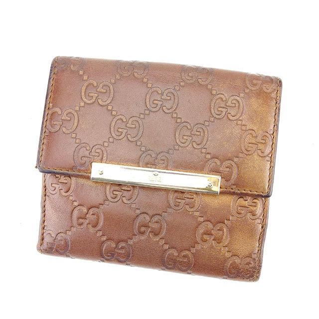 【中古】 グッチ GUCCI Wホック財布 二つ折り財布 メンズ可 グッチシマ ブロンズ×ゴールド レザー 人気 Y7099 .