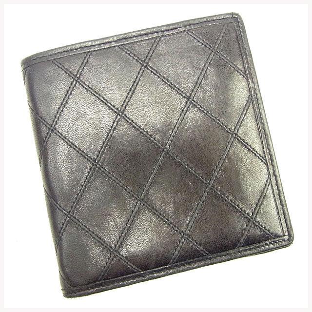 8533f5093b59 【中古】 シャネル CHANEL 二つ折り財布 メンズ可 ダブルステッチ ブラック レザー ヴィンテージ 人気