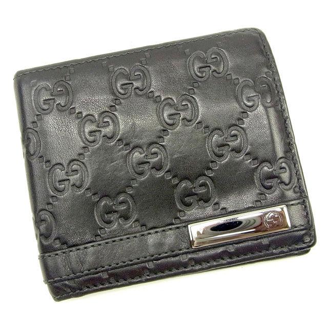 【中古】 グッチ GUCCI 二つ折り財布 メンズ グッチシマ ブラック×ブラックシルバー レザー 良品 Y7307 .