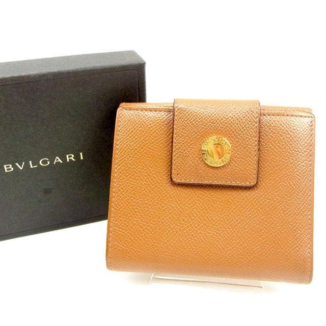 【中古】 ブルガリ BVLGARI Wホック財布 二つ折り財布 メンズ可 ブルガリブルガリ キャメル×ゴールド レザー 良品 Y7322 .