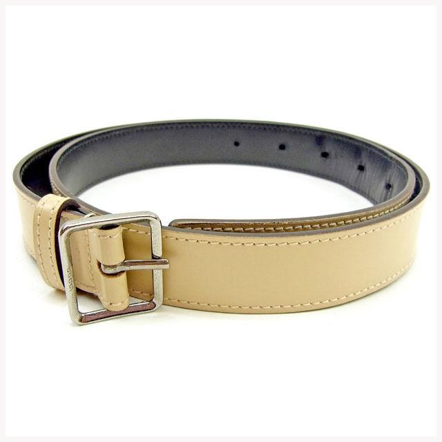 b58c8f9cd53 Gucci GUCCI belt ♯ 75 30 size men s possible mini logo plate beige X silver  leather quality goods sale Y7329