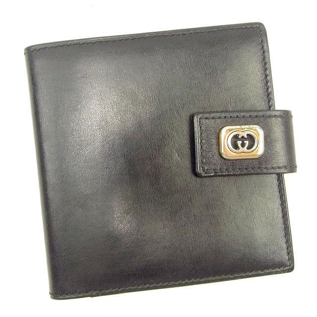 【中古】 グッチ GUCCI 二つ折り財布 メンズ可 オールドグッチ ダブルGプレート ブラック×シルバー系 レザー ヴィンテージ 人気 Y7341 .