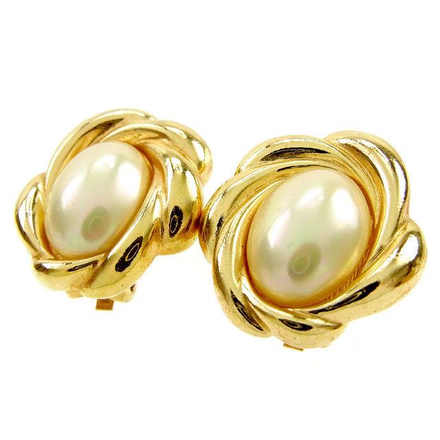 【中古】 ディオール Dior イヤリング アクセサリー レディース パールベージュ×ゴールド フェイクパール×ゴールドメッキ T12438 .