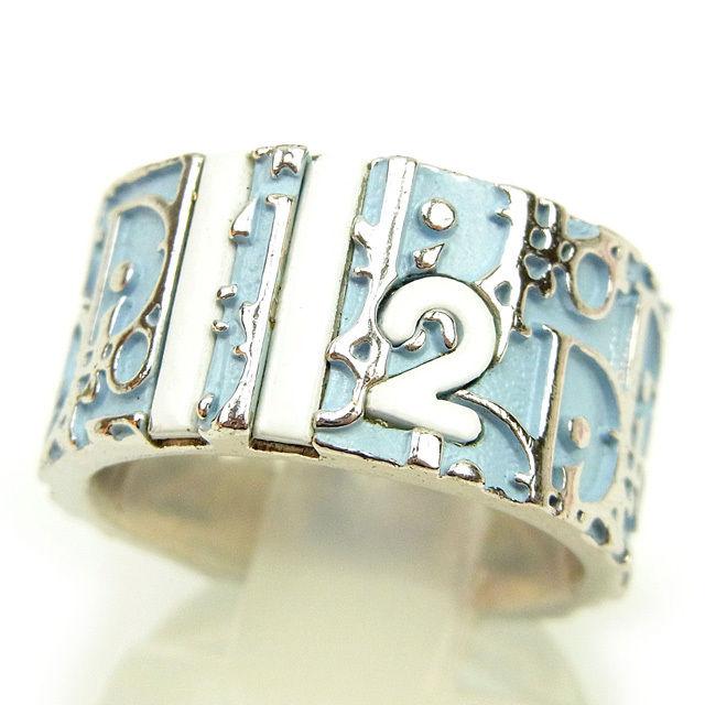 【中古】 ディオール Dior 指輪 リング アクセサリー メンズ可 ♯115~12号 トロッター シルバー×ブルー×ホワイト 美品 Y7355 .
