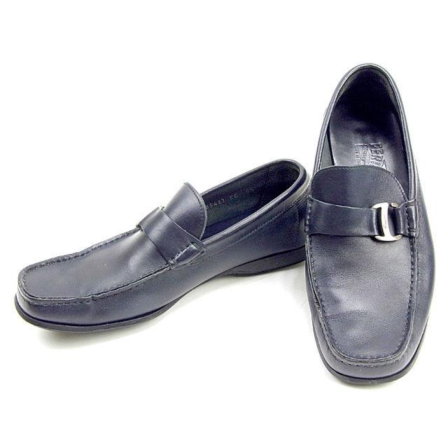 【中古】 サルヴァトーレ フェラガモ Salvatore Ferragamo ローファー シューズ 靴 メンズ ♯5ハーフEE ダークネイビー×シルバー レザー T13412
