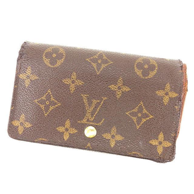 【中古】 ルイ ヴィトン Louis Vuitton L字ファスナー財布 二つ折り財布 メンズ可 ポルトモネビエトレゾール モノグラム ブラウン モノグラムキャンバス 人気 Y7426 .