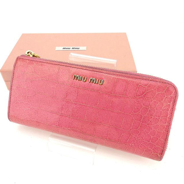 3396e5536078 【中古】 ミュウミュウ miu miu 長財布 L字ファスナー レディース クロコダイル調 ピンク