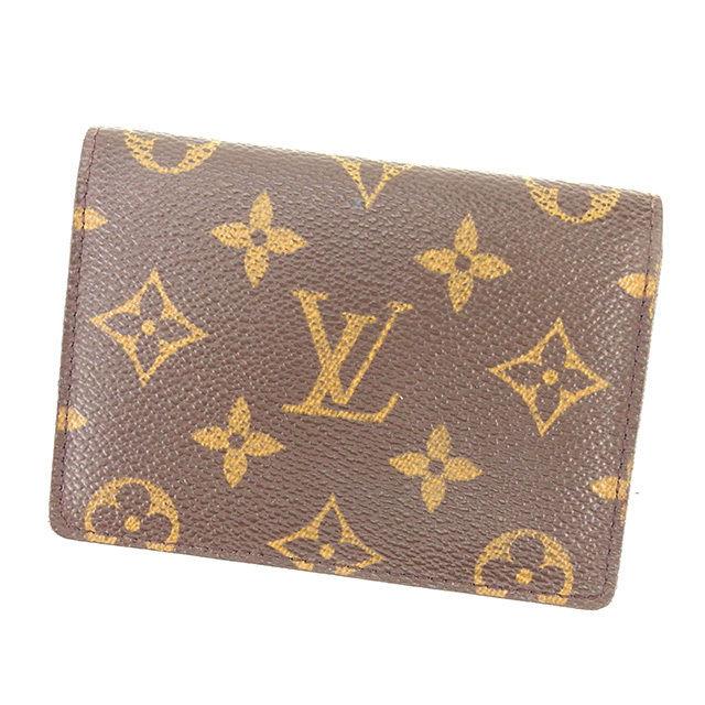 【中古】 ルイ ヴィトン Louis Vuitton 定期入れ パスケース メンズ可 ポルト2カルトヴェルティカル モノグラム ブラウン モノグラムキャンバス 良品 Y7438