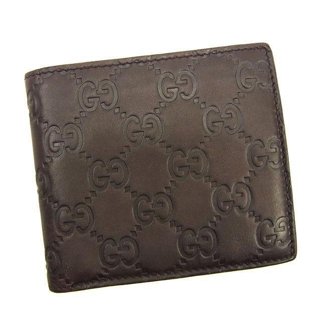 【中古】 グッチ GUCCI 二つ折り財布 レディース メンズ 可 グッチシマ ブラウン レザー 人気 Y7517 .