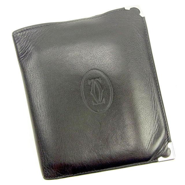 【中古】 カルティエ Cartier 二つ折り札入れ メンズ ブラック×シルバー×ボルドー レザー T14196 .
