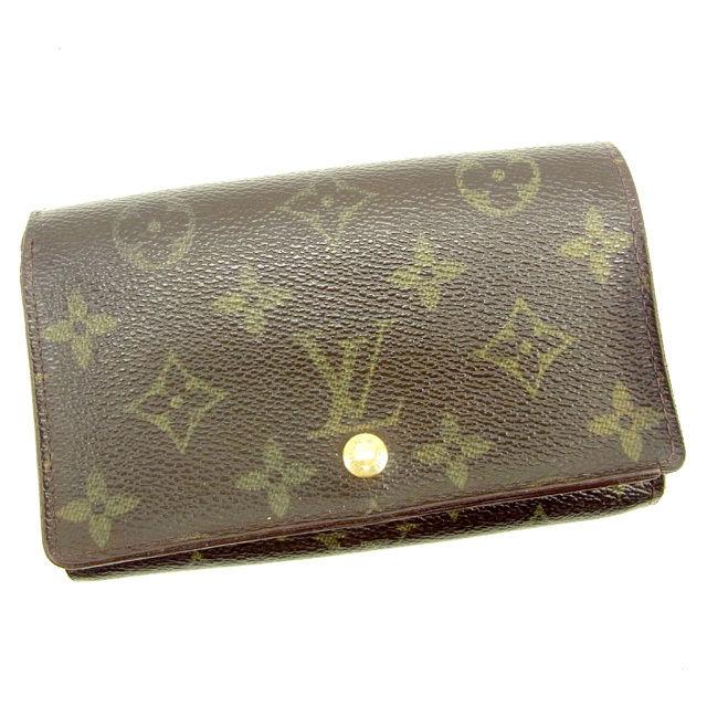 【中古】 ルイ ヴィトン Louis Vuitton L字ファスナー財布 二つ折り財布 メンズ可 ポルトモネビエトレゾール モノグラム ブラウン モノグラムキャンバス 人気 Y7560 .