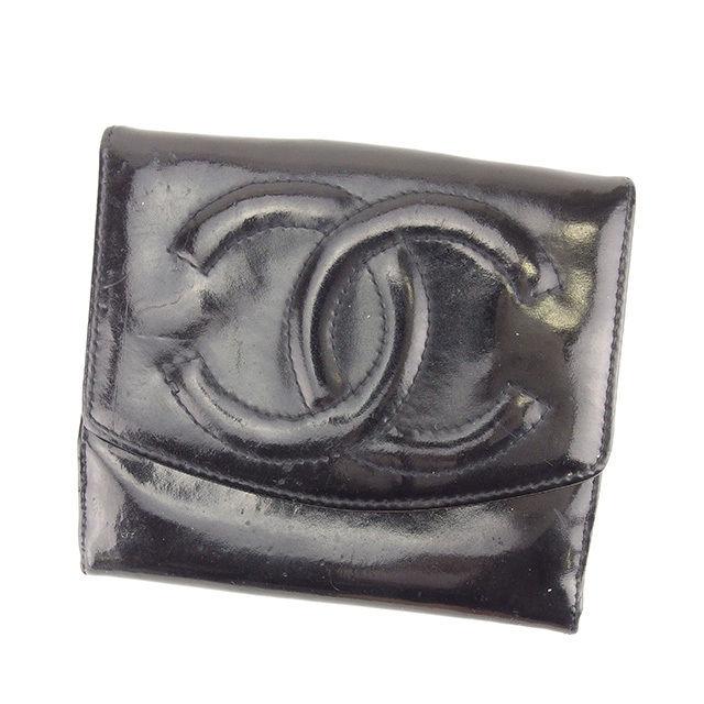 【中古】 シャネル CHANEL Wホック財布 二つ折り財布 メンズ可 ココマーク ブラック エナメルレザー 人気 Y7600 .