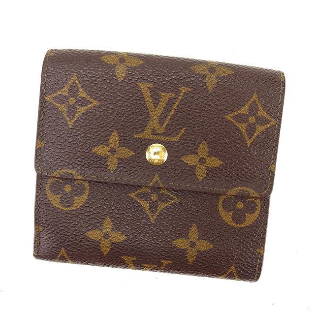 【中古】 ルイ ヴィトン Louis Vuitton Wホック財布 三つ折り財布 メンズ可 ポルトモネビエカルトクレディ モノグラム ブラウン モノグラムキャンバス 人気 Y7601 .