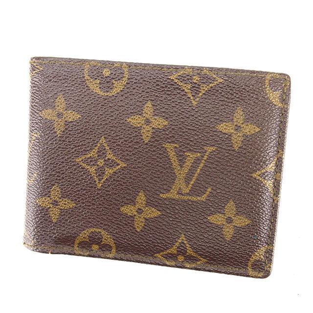 【中古】 ルイ ヴィトン Louis Vuitton 二つ折り札入れ 廃盤レア メンズ可 ポルトフォイユミュルティプル モノグラム ブラウン モノグラムキャンバス 人気 Y7608 .