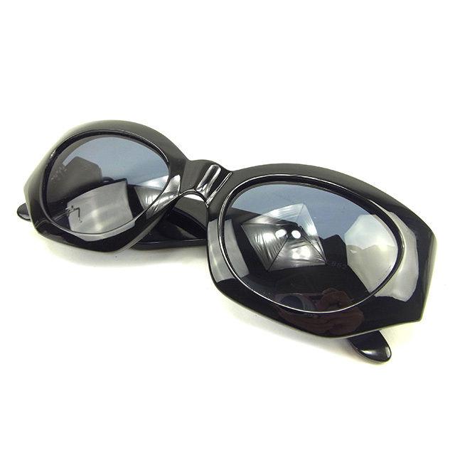 【中古】 ジャンニ ヴェルサーチ GIANNI VERSACE サングラス メガネ メンズ可 メドゥーサ付き フルリム ブラック×ブラックシルバー プラスティック 良品 Y7641s .