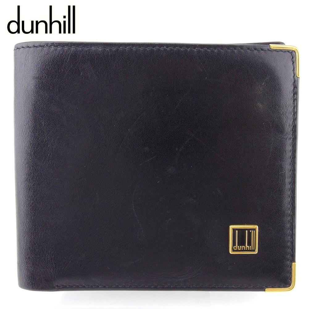 【中古】 ダンヒル 二つ折り 財布 ミニ財布 メンズ ロゴプレート ブラック ゴールド レザー dunhill Q594