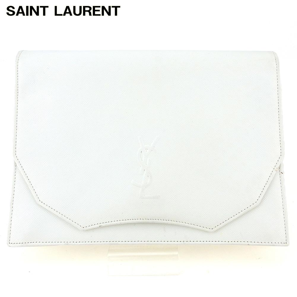 【値引実施中】 【中古】 サンローラン クラッチバッグ セカンドバッグ レディース メンズ YSLロゴ ホワイト 白 レザー SAINT LAURENT Q617