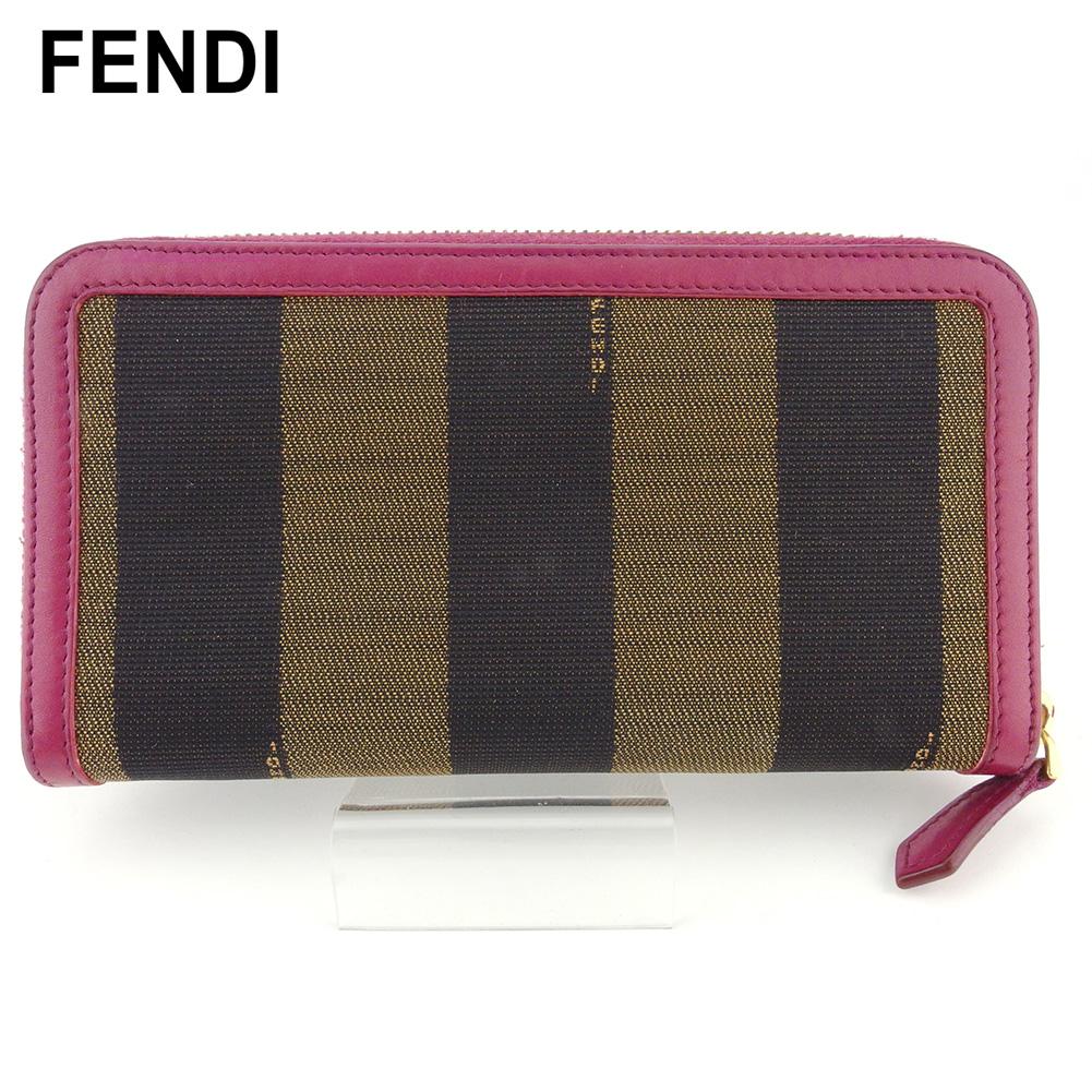 【中古】 フェンディ 長財布 さいふ ラウンドファスナー 財布 さいふ レディース ペカン ベージュ ブラック ピンク キャンバス×レザー FENDI T18272
