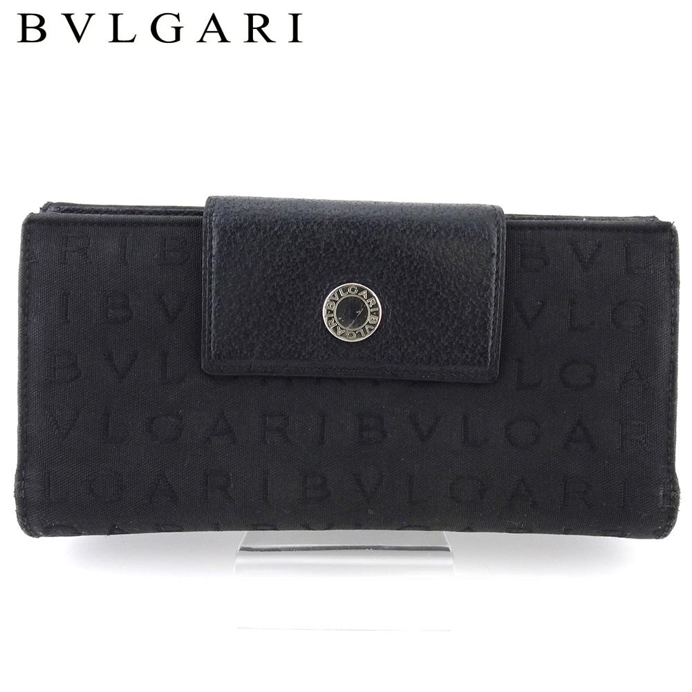 【中古】 ブルガリ 長財布 さいふ Wホック 財布 さいふ レディース メンズ ロゴマニア ブラック シルバー キャンバス×レザー BVLGARI T18327