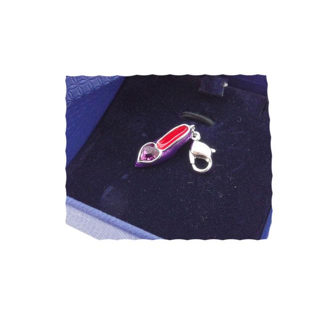 【中古】 スワロフスキー SWAROVSKI チャーム ペンダントトップ レディース ハートクリスタル パープル×シルバー系 T12135 .