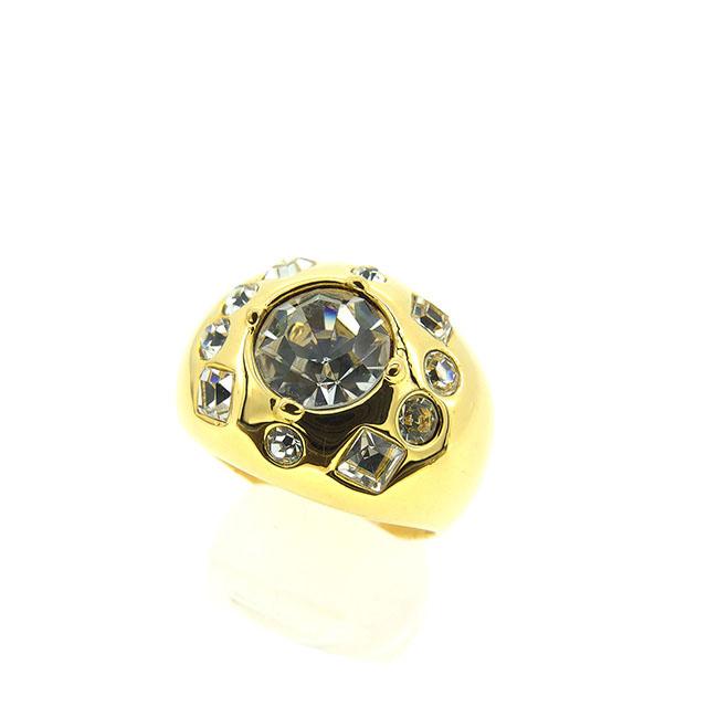 【中古】 ペレバレンチノ PER VALENTINO 指輪 リング アクセサリー 0 ♯21号 クリア×ゴールド ストーン×ゴールド素材 T10594 .