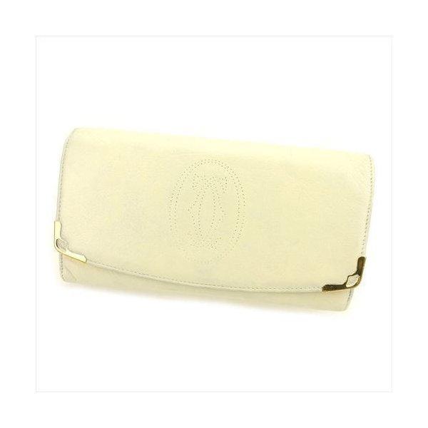 【中古】 カルティエ Cartier 長財布 財布 ファスナー付き レディース メンズ 可 マルチェロ ホワイト 白 ゴールド レザー 人気 T6126