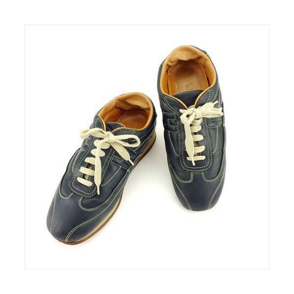 【中古】 エルメス HERMES スニーカー 靴 シューズ レディース #38 ネイビー レザー T6194 .