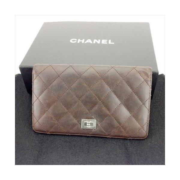 【中古】 シャネル 長財布 Chanel ブラウン T6197s