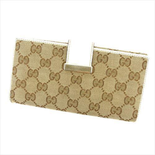 【中古】 グッチ 長財布 Wホック Gucci ベージュ T6206s