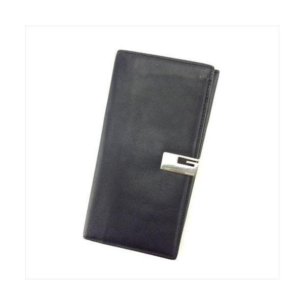 【中古】 グッチ 長財布 Wホック Gucci ブラック T6207s